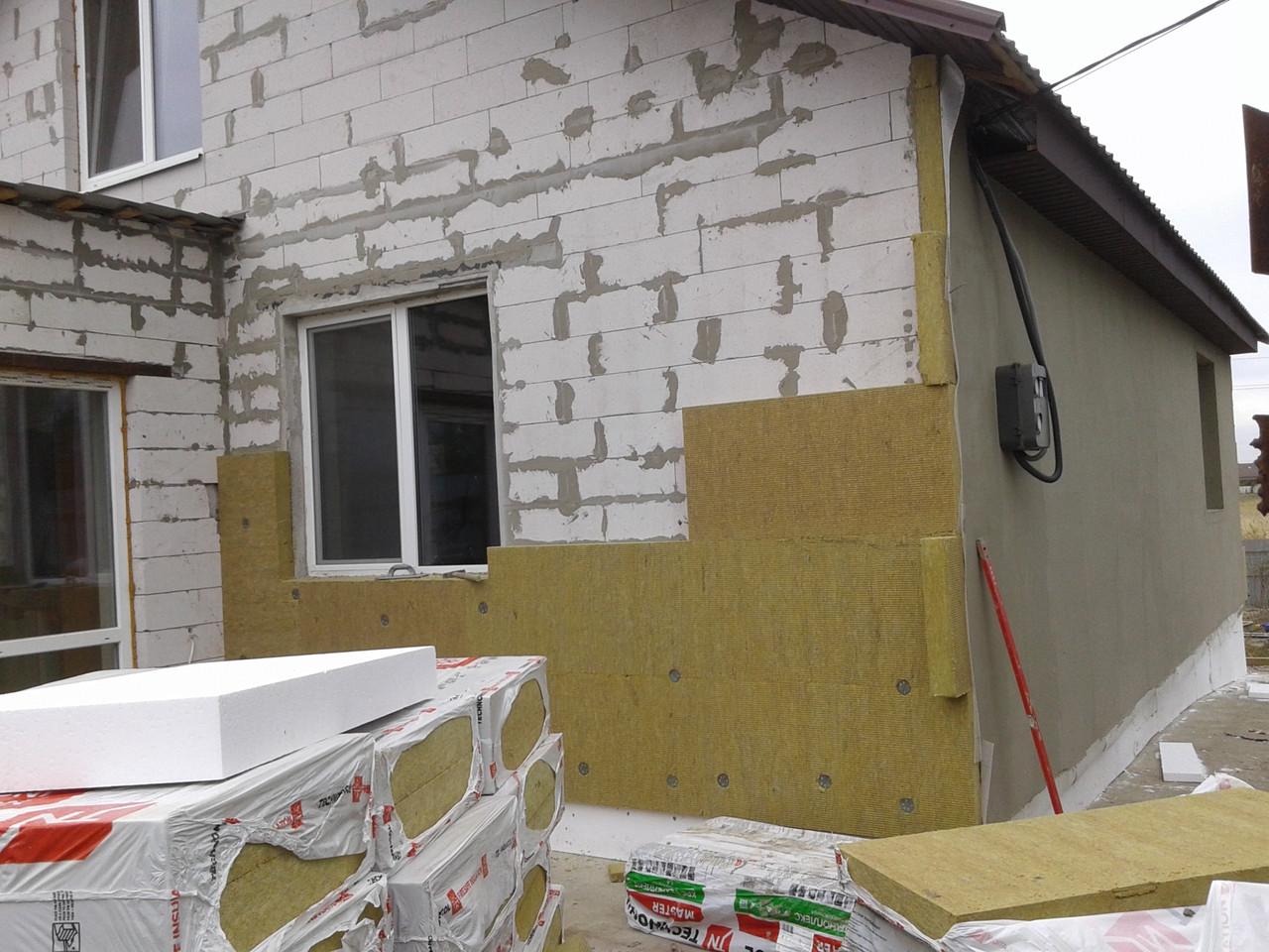 Утепление домов миниральной ватой пенопластом фасада короед барашек армировка, фото 1