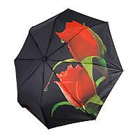 """Женский зонт-полуавтомат Swifts """"Бутоны роз"""" черный цвет, 18035-6, фото 1"""