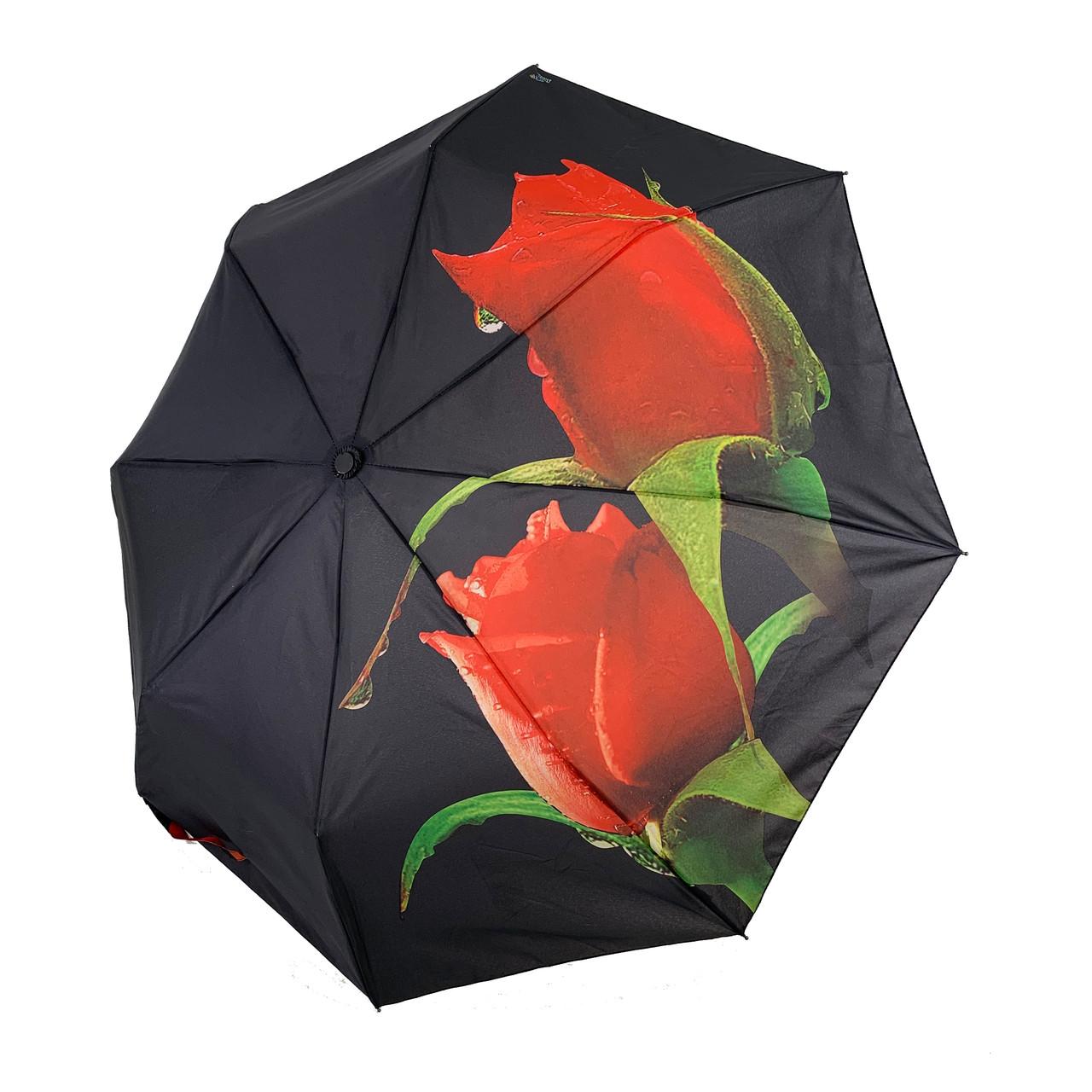 """Женский зонт-полуавтомат Swifts """"Бутоны роз"""" черный цвет, 18035-6"""