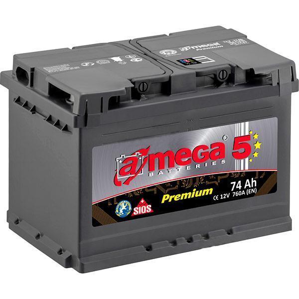 """Аккумулятор 6 СТ-74-А3  A-mega Premium  ( 74 Ач, 760 А, """"+"""" слева ) М5"""