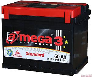"""Аккумулятор Автомобильный 60 Ач A-Mega Standart (6СТ-60-Аз 540 А """"+"""" слева) M3"""