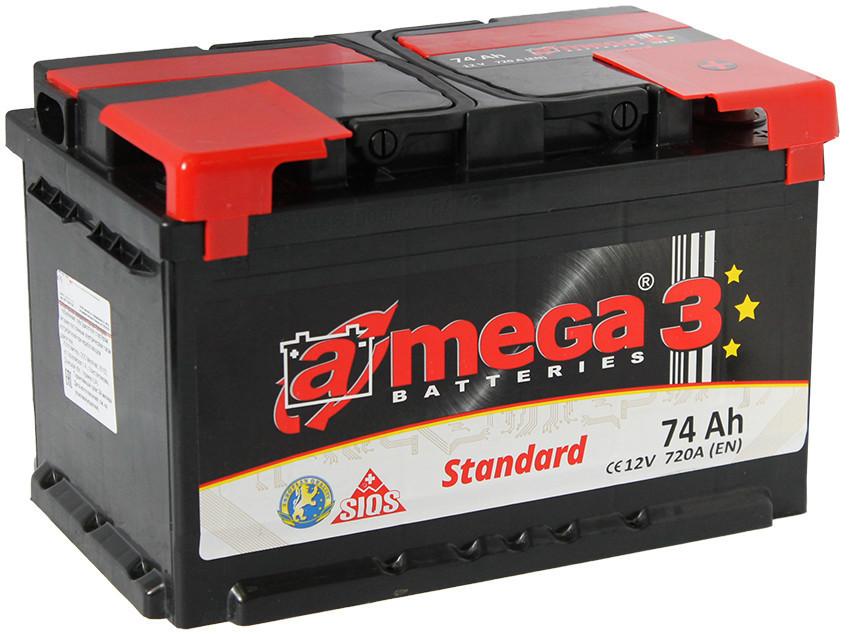 """Аккумулятор Автомобильный 74 Ач A-Mega Standart (6СТ-74-Аз 720 А """"+"""" слева) M3"""