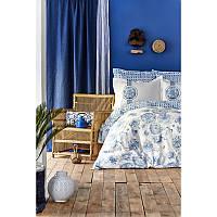 Постельное белье Karaca Home ранфорс - Felinda mavi 2019-2 голубой полуторное