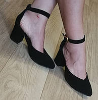Комфортные туфли Limoda из натуральной замши босоножки на каблуке 6 см черные, фото 1
