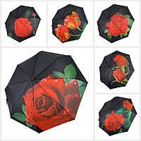 """Женский зонт-полуавтомат Swifts """"Цветы"""" черный цвет, 18035"""