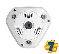 "IP WiFi Камера Он-лайн Видеонаблюдения, Панорамная Система ""Рыбий глаз"", VR360, Модель: ""ТРЕУГОЛКА"""