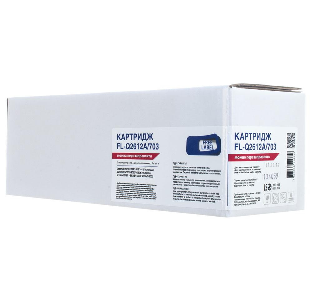Картридж HP 12A (Q2612A), Black, LJ 1010/1020/1022/3015/3020/3030/3050/3055, 2k, Free Label (FL-Q2612A/703)