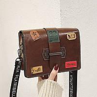 f1a9bab48651 Promo Маленькая женская прямоугольная сумка с нашивками Vogue коричневая