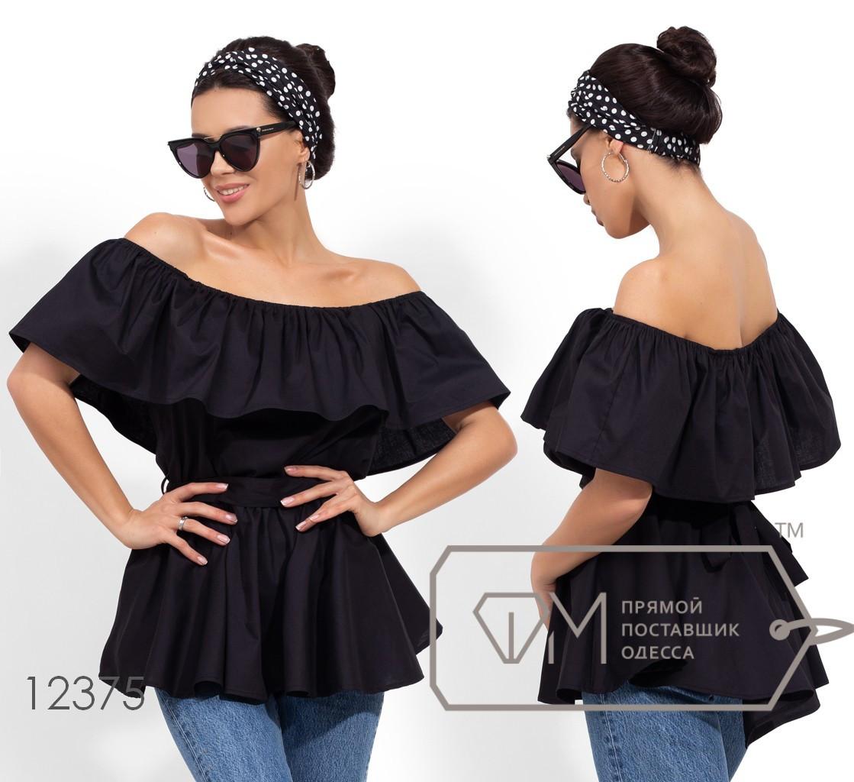 Летняя блуза с открытыми плечами, черный
