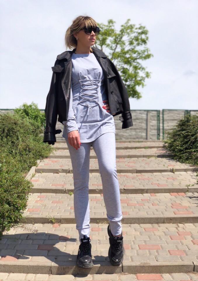 Костюм спортивный женский из двунитки со шнуровкой (К27602)