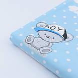 """Сатин ткань """"Мишки BOY в кепке"""" на голубом № 1911с, фото 2"""