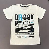 Футболка на мальчика Бруклин белая р.140, 152, 164