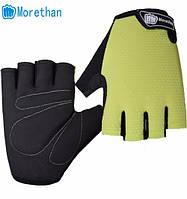 Перчатки для велоспорта, фитнеса мужские, женские (Morethan) Желтые, L, фото 1