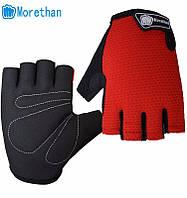 Перчатки для велоспорта, фитнеса мужские, женские (Morethan) Красные, M, фото 1