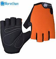 Перчатки для велоспорта, фитнеса мужские, женские (Morethan) Оранжевые, M