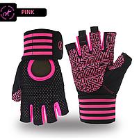 Перчатки для тренажерного зала, фитнеса мужские, женские с напульсником (Morethan) Розовые, M, фото 1