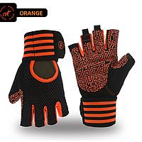 Перчатки для тренажерного зала, фитнеса мужские, женские с напульсником (Morethan) Оранжевые, M