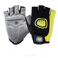 Перчатки для велоспорта, фитнеса мужские, женские (Morethan) Желтые, M