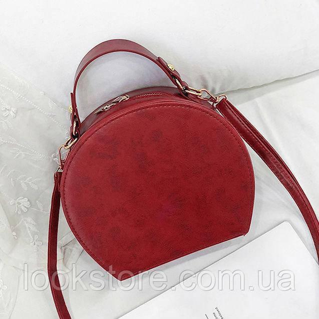 Женская маленькая полукруглая сумка красная