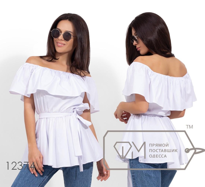 Летняя блуза с открытыми плечами, белый