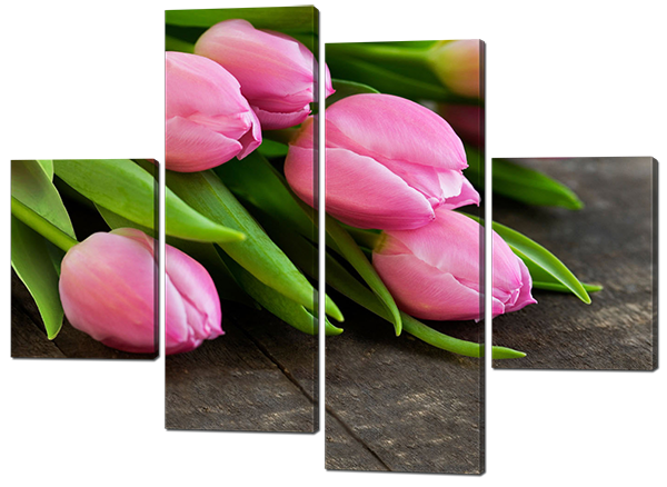 Модульная картина Interno Искусственный холст Тюльпаны на столе 166x123см (Z418XL)