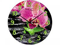 Часы настенные кухонные Розовая орхидея, стекло 28 см 01-155