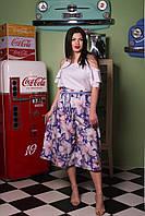 """Летний женский костюм """"Либерти"""" с топом и расклешенными брюками-кюлотами (большие размеры)"""