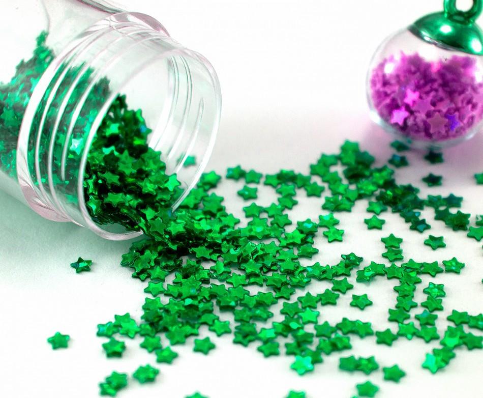 """(20 грамм) Пайетки """"звёздочки"""" мелкие 2х2 мм  Цвет - Зеленый"""
