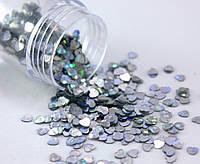 "(20 грамм) Пайетки ""сердечки"" мелкие 3х3 мм  Цвет - Серебро (голограмма)"