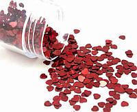 """(20 грамм) Пайетки """"сердечки"""" мелкие 3х3 мм  Цвет - Красный (голограмма)"""
