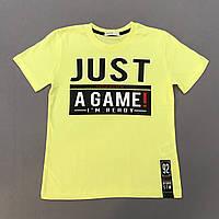 Детская футболка для мальчика р.128 (7-8 лет) желтая с надписями