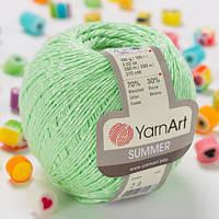 Пряжа YarnArt Summer 20 зеленая мята (Ярнарт Саммер) 70% хлопок, 30% вискоза