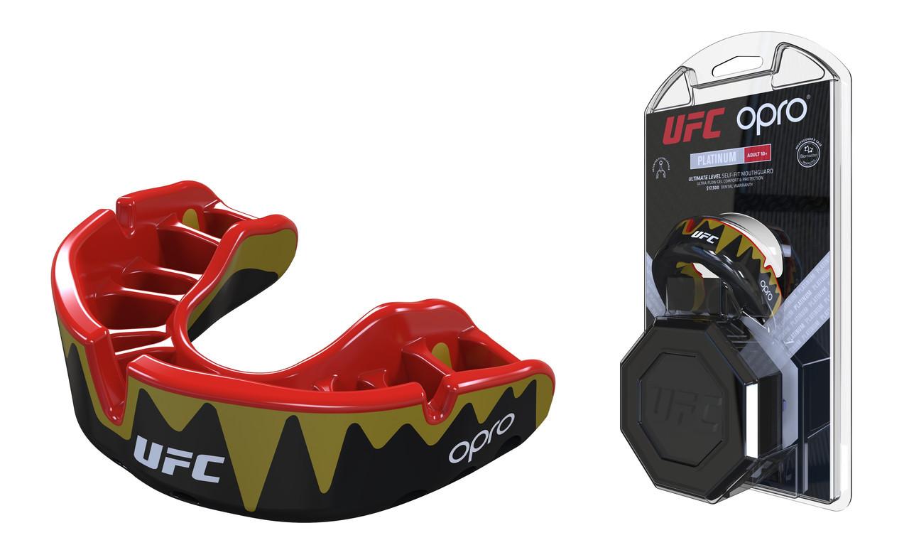 Капа OPRO Platinum UFC Hologram Fangz-Black Metal/Red (art.002261002)