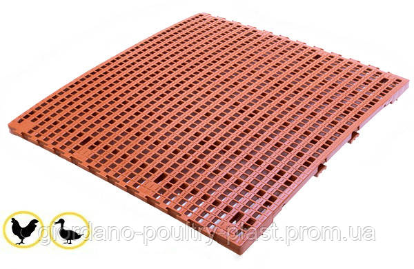 Решетчатый пластиковый пол для бройлеров  1000х1000 мм, щелевые пластиковые полы для птичников