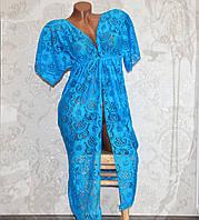 Голубой пляжный кружевной халат-туника, длинная гипюровая накидка на купальник, размер L (46-48)