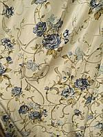 Штора лен цветы Турция много цветов   набор ширина, фото 1
