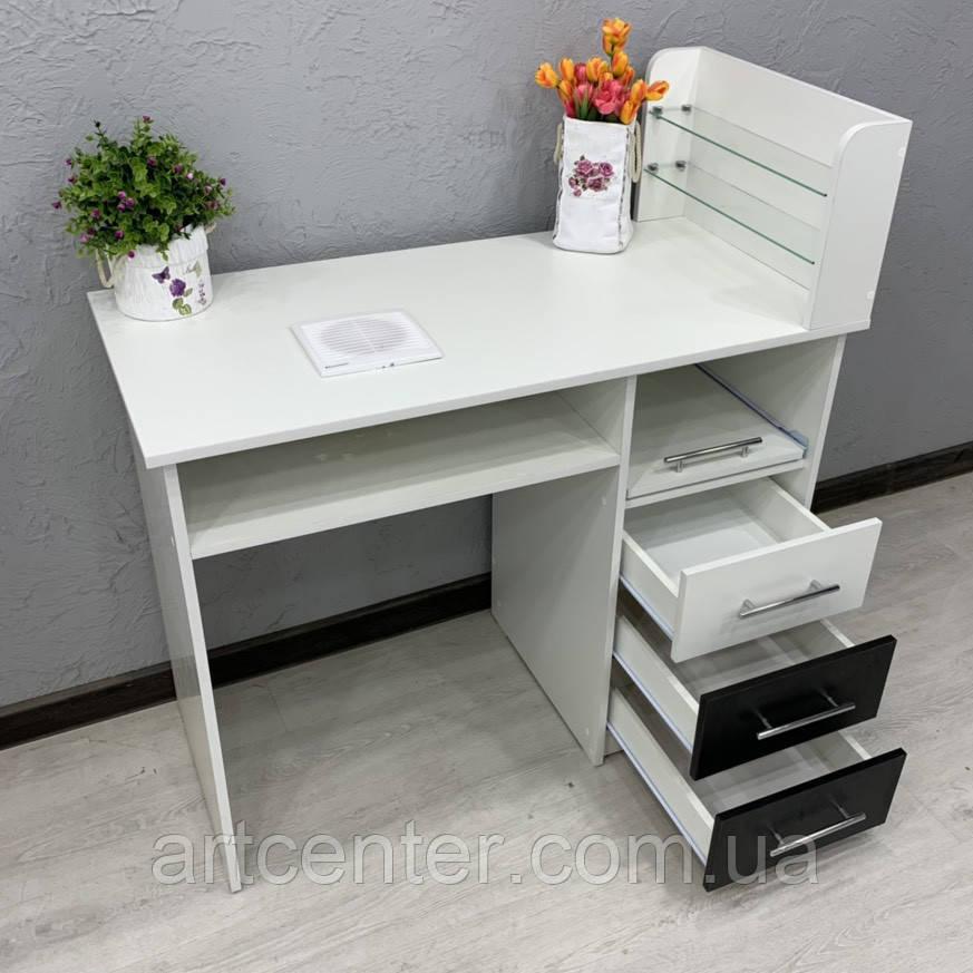 Маникюрный стол с выдвижными ящиками, полкой и встроенной вытяжкой