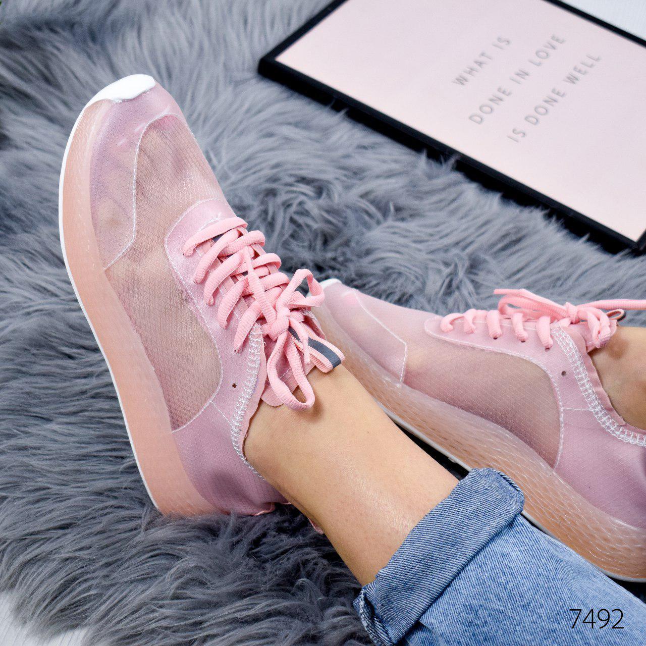 """Кроссовки женские """"Podrobe"""" розового цвета из текстиля. Кеды женские. Мокасины женские. Обувь женская"""