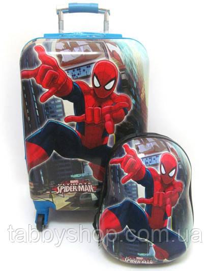 """Набор: чемодан детский на 4 колесах """"Человек Паук"""" L 20"""" + рюкзак"""