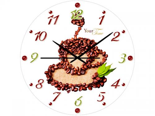 Часы настенные кухонные Кофейные, стекло 28 см 01-129