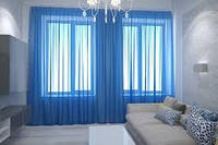 Шифон для штор (синій)