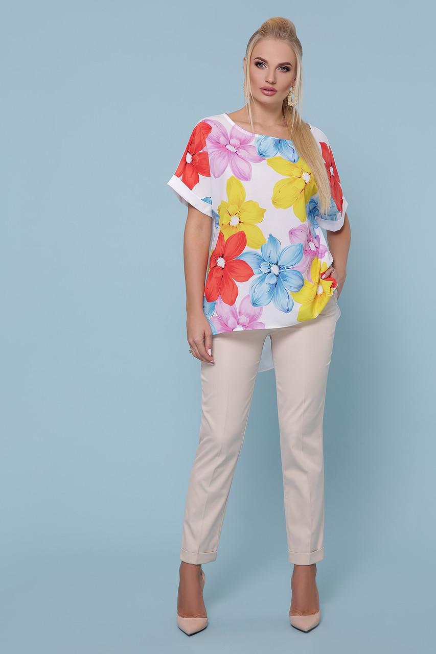 Женская стильная туника Цветы Большой размер XL, XXL, XXXL