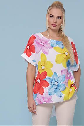 Женская стильная туника Цветы Большой размер XL, XXL, XXXL, фото 2
