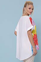 Женская стильная туника Цветы Большой размер XL, XXL, XXXL, фото 3