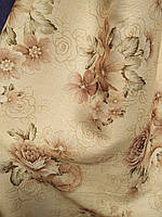 Штора лен цветы Турция много цветов   набор ширина