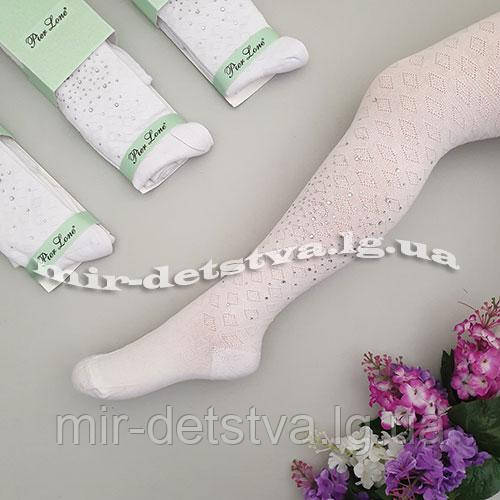 Белые ажурные колготки для девочек оптом, Турция ТМ PIER LONE р.11-12 лет (146-152 см)