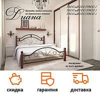 Кровать кованая Диана с деревянными ножками фабрика Металл дизайн