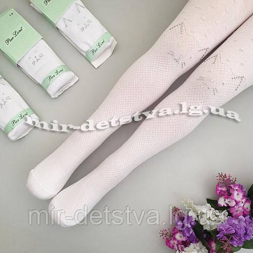 Белые ажурные колготки для девочек оптом, Турция ТМ PIER LONE р.11-12 лет (146-152 см) ост.1 шт