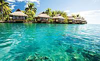Фотообои - Море, пальмы и бунгало, 368х254 см 4 листа