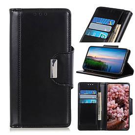 Чехол книжка для Samsung Galaxy A20e A202FD боковой с отсеком для визиток и магнитной застежкой, черный